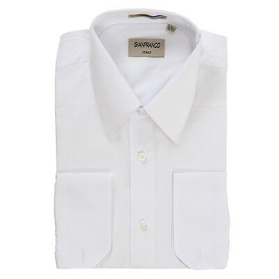 Modern Fit Men's White Dress Shirt Convertible Cuff Spread Collar By Gianfranco