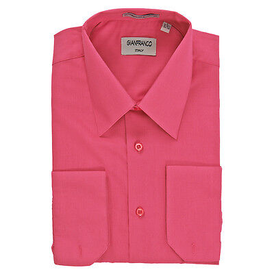 Modern Fit Men's Fuchsia Dress Shirt Convertible Cuff Spread Collar Gianfranco