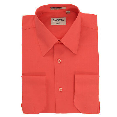 Modern Fit Men's Coral Dress Shirt Convertible Cuff Spread Collar Gianfranco