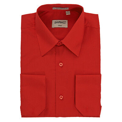 Modern Fit Men's Red Dress Shirt Convertible Cuff Spread Collar By Gianfranco
