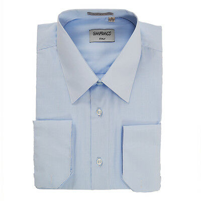 Modern Fit Mens Light Blue Dress Shirt Convertible Cuff Spread Collar Gianfranco