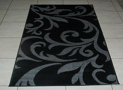 New Black/grey Modern Floor Runner Rug 100X160Cm