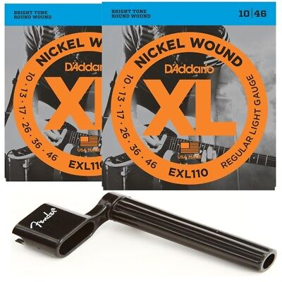 2 x  D'Addario EXL110 Light Electric Guitar Strings 10 - 46 + Fender Peg Winder