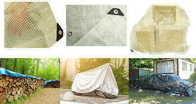 CLEAR REINFORCED TARPAULIN, REINFORCED MESH & EYELETS + accessories available