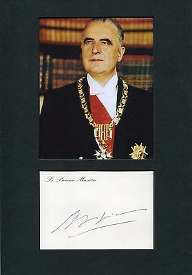 Georges Pompidou FRANCE autograph, signed card mounted