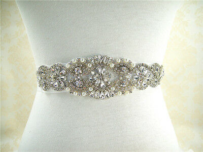 Stunning Pearl Rhinestone Bridal Belt Sash Wedding Accessories Any Colour Ribbon