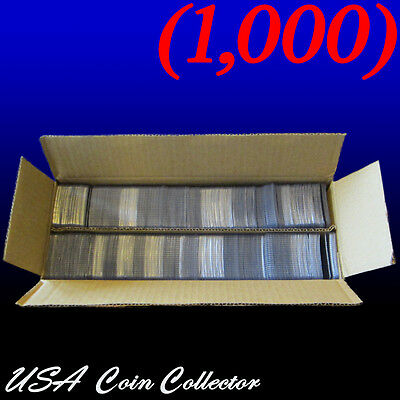 (1000) 2x2 Double Pocket Vinyl Coin Flips for Storage - Plastic Holders | Bulk