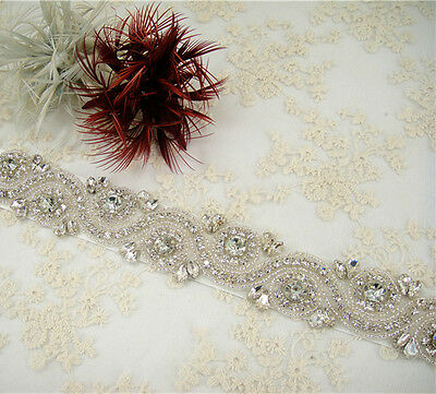"18"" Rhinestone Crystal Bridal Belt Wedding Sash Accessories Any Colour Ribbon"