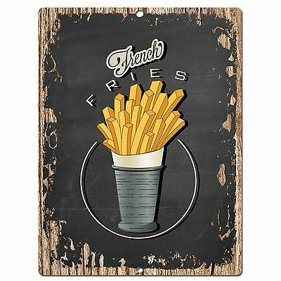 PP0504 French Fries Plate Chic Sign Bar Store Shop Cafe Restaurant Kitchen Decor