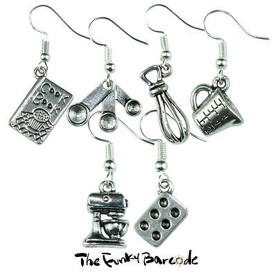 TFB - BAKERS KITCHEN DANGLE EARRINGS Fun Cool Cake Bake Food Sweet Retro Novelty