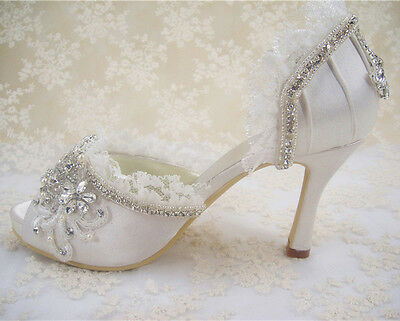 Handmade Lace Diamante Bridal Shoes Peep Toe High Heel Satin Wedding Shoes UK3-8