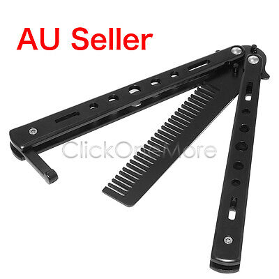 BMK - Butterfly Practice Training Tool Folding Stainless Steel Knife Comb Black