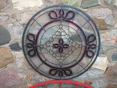 Round Stained Glass Window Purple Designs Cabin Lodge Home Man Cave Garage Decor
