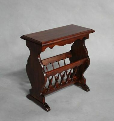Solid Mahogany Wood Side Table / Magazine & Newspaper Rack Antique Style