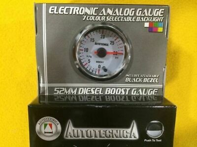 """52mm Boost gauge Turbo diesel 30 Psi (2 Bar) boost Autotecnica 2"""" white face"""