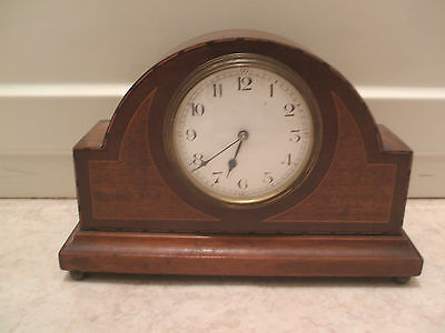 "French Inlaid Mahogany Case Platform Movement Timepiece Mantle Clock 6""H 9.5""L"