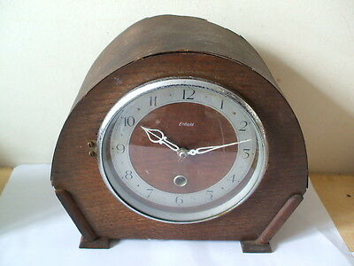 "Enfield Oak Case Timepiece Mantle Clock 9""H 10""W"