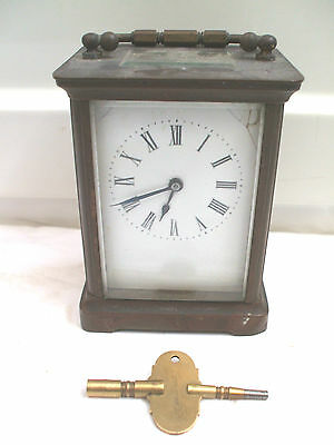 "French Brass Case Enamelled Face Timepiece Carriage Clock 4.25""High"