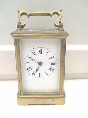 "French Glazed Brass Case Enamelled Face Timepiece Carriage Clock 4.5""H"