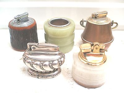 """Colibri Copper Table Lighter 3""""D With Four Other Various Table Lighters"""