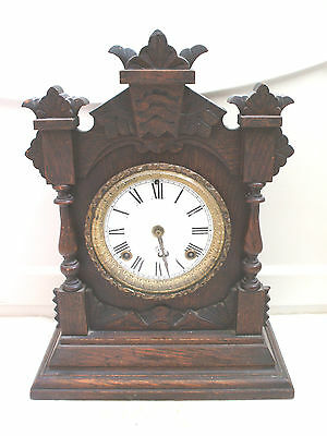 "Ansonia American Carved Oak Case Striking Mantle Clock c1900 15""H 11""W 5""D"