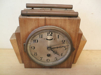 "Art Deco Beechwood Case Mantle Clock 7""H 8.5""W 4""D"