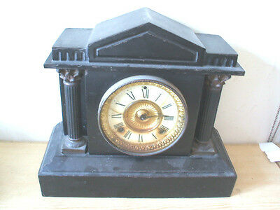 Ansonia Victorian American Architectural Form Cast Iron Striking Mantle Clock
