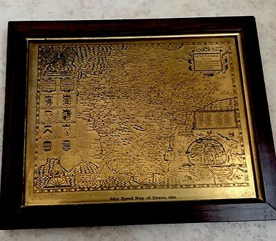 """Brass Embossed Plaque Mother Motto 11""""L With Framed Devon Map & Steam Loco"""
