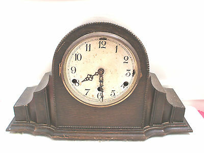 "Anvil DRGM German Oak Case Westminster Chimes Mantle Clock 10.5""H 17.5""W 6""D"