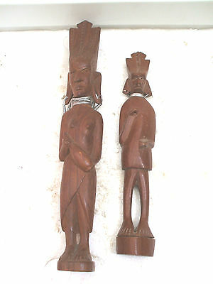 """African Tribal Carved Wood Ornament 15""""L With Another 12""""L"""