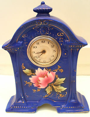 "Beautiful Porcelain Case Mantle Clock Winding Movement In Working Order 9""H"