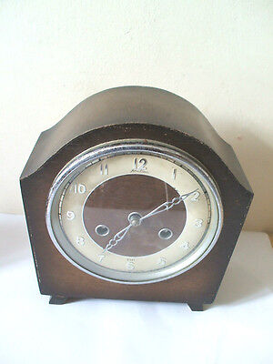 "Bentima Oak Case Striking Mantle Clock 9""H 8""W"