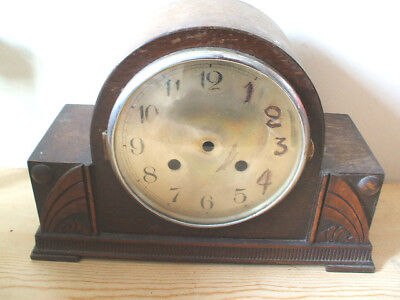 Carved Oak Mantle Clock Case With Loose Movement Spare