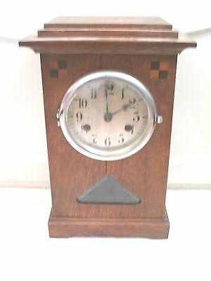 "German Inlaid Oak Case Striking Mantle Clock c1900 14""H 8.5""W 5""D"