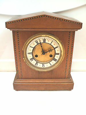 "HAC Victorian German Inlaid Oak Case Striking Mantle Clock 12""H 10""W"