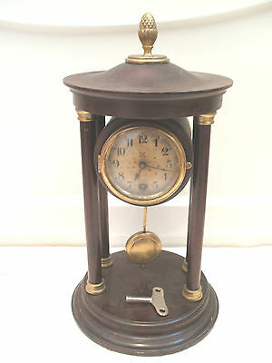"HAC German Portico Mahogany Case Winding Movement Timepiece Mantle Clock 12""H"