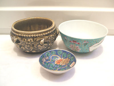 Oriental Dish & Bowl With Oriental Style Pottery Bowl With Raised Decoration