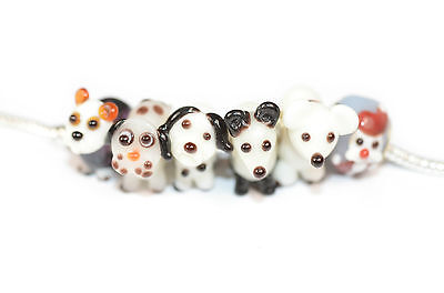 Dogs! Handmade Murano Glass Lampwork Dog Charm Bead, Big Hole European Style