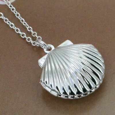 *uk* 925 Silver Plt Open Clam Sea Shell Photo / Picture Locket Pendant Necklace