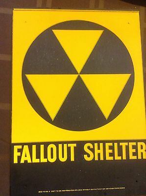 """VINTAGE 1960s ORIGINAL FALLOUT SHELTER SIGN. GALV.STEEL 10""""x14"""" Sign With Defect"""