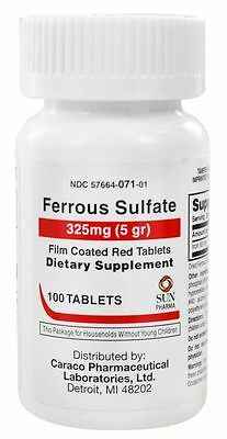 Ferrous Sulfate 325mg Red Tablets 100ct -Made in the USA-