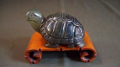 Very Fine Antique Chinese Spinach Jade Green Nephrite Jade Turtle