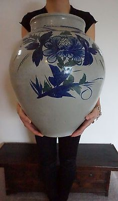 "Monumental 18"" Fine Korean Joseon Dynasty Cobalt Blue & White Jar Porcelain Vase"