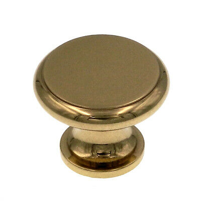 """42801 Polished Brass (Gold) 1 1/4"""" Flat-Top Solid Brass Cabinet Knob Pull Laurey"""