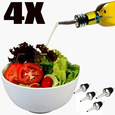 3PCS Stainless steel Olive Oil Pourer Dispenser Spout Glass Bottle Pourer UK