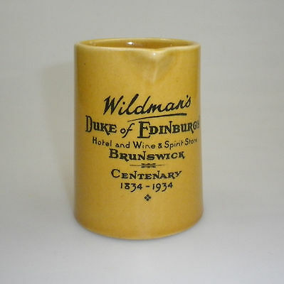 Rare Wildmans Duke Of Edinburgh Brunswick Centenart Advertising Jug