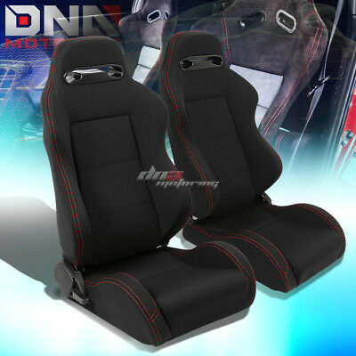 Pair Black Type-R Full Reclinable Cloth Racing Seat Red Stitch+Mounting Silders