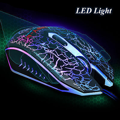 7 Color LED Light Changeable 2400 DPI Gaming Optical Mouse USB Wired PC Laptop