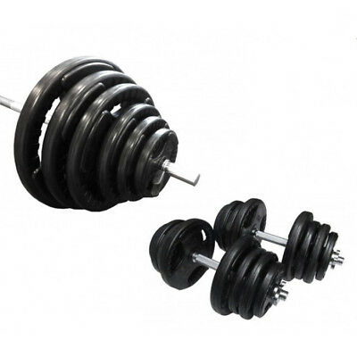 90kg Standard Rubber Coated Barbell/Dumbbell Weights Set Home Gym Training