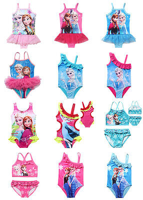 Girl Kids Bathers Swimwear Bikini Swimsuit Clothing Toddler Elsa Beachwear 1-12Y
